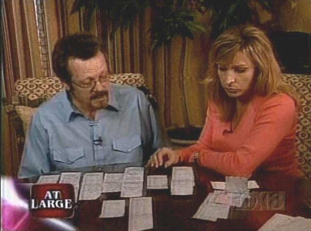[Steve Gigax showing Laura Ingle the credit card receipts that prove he was in Bloomington, Indiana when JonBenet was murdered]