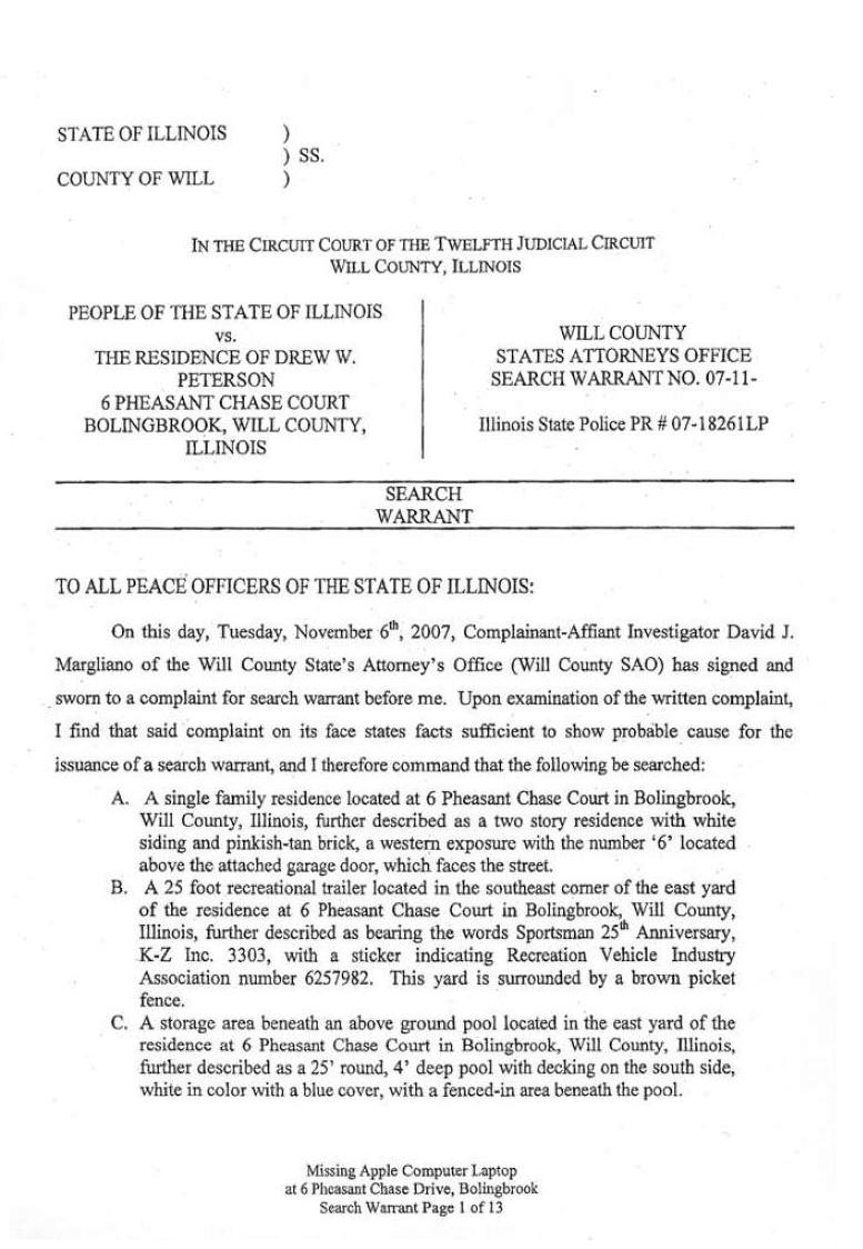 [11-06-2007 Search Warrant Page 1]