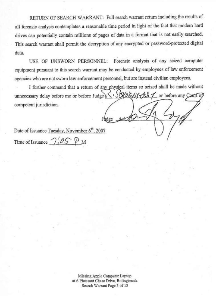 [11-06-2007 Search Warrant Page 3]