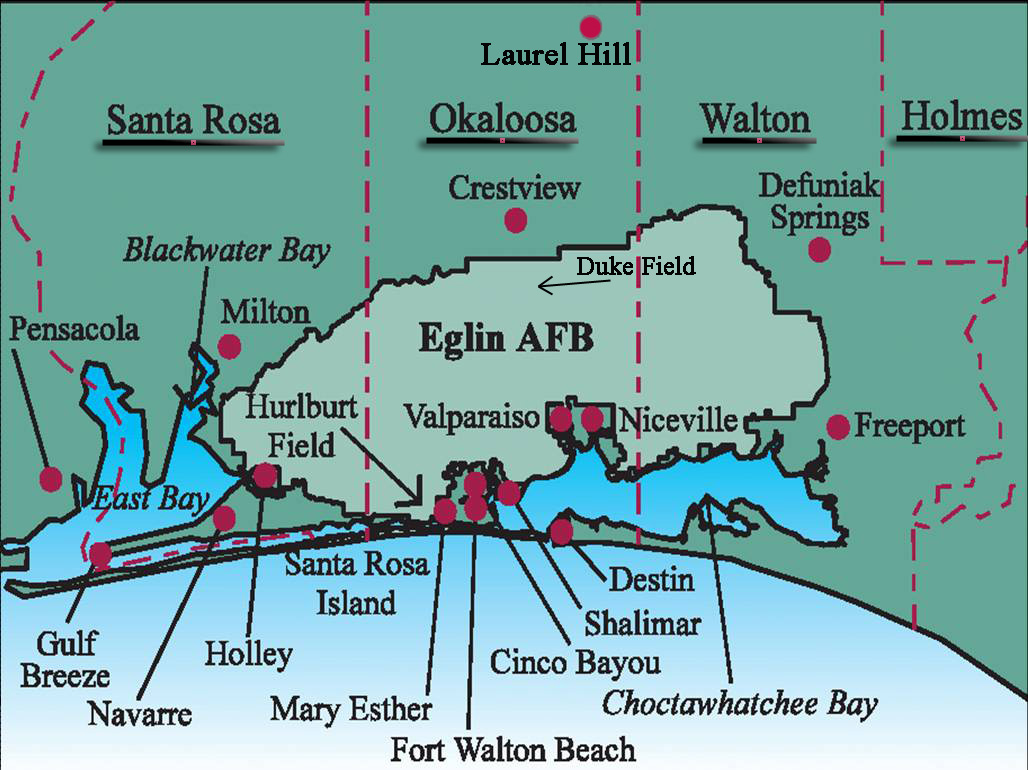 Hurlburt Field AFB FL And Surrounding Cities In Okaloosa County - Florida map lake mary