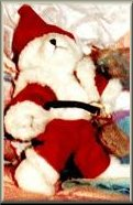 [Santa Bear Mystery - Unidentified Santa Bear found in Crime Scene Photo - Pam Paugh told 'Inside Edition' 01-29-1999 that a note was in a small pouch attached to a teddy bear - Pam says the note was not alarming but that it was, 'telling' and 'a bit prophetic.' - There was no note in the bear's pouch - LaDonna Graygo purchased the bear as a prize JonBenet won as 'Little Miss Christmas' Amerikids Pageant, Boulder Colorado December 14, 1996]