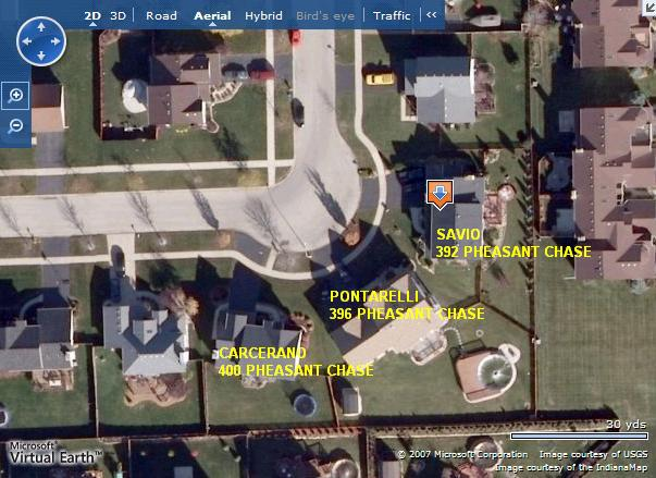 [Map showing Kathleen Savio's house at 392 Pheasant Chase, Bolingbrook, Illinois and that of her two neighbors, the Steve Carcerano family and the Thomas Pontarelli family]