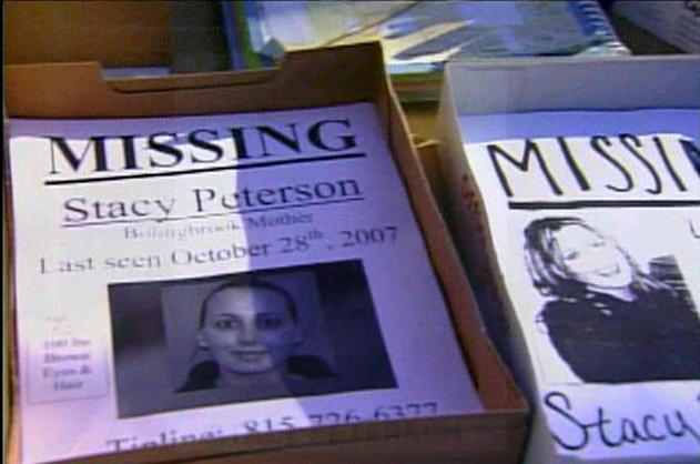 [Flyers for Missing Stacy Peterson distributed -  Screen capture from www.nbc5.com WMAQ-TV]