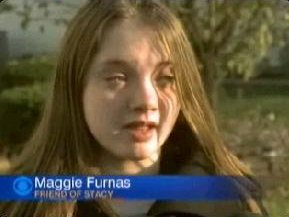 [Stacy's friend Maggie Furnas helping in searches for missing Stacy Peterson - Screen capture from http://cbs2chicago.com/]