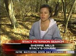 [11/05/2007 Stacy's cousin Sherrie Mills helping with searches - Screen Capture from www.myfoxchicago.com]