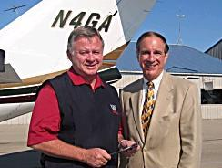[Bolingbrook Mayor Roger Claar and Phil Boyer at Clow International Airport]